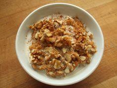 pumpkin oatmeal with flax, cinnamon, pumpkin pie spice, evaporated cane sugar, walnuts, coconut and soy milk