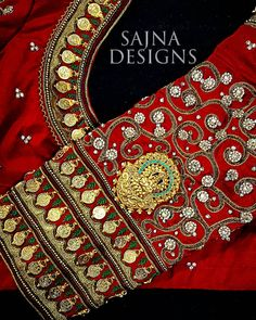Elbow length sleeve design collection from Sajna bridal wear. Wedding Saree Blouse Designs, Pattu Saree Blouse Designs, Blouse Designs Silk, Designer Blouse Patterns, Maggam Work Designs, Coin Design, Work Blouse, Sleeve Designs, Sarees