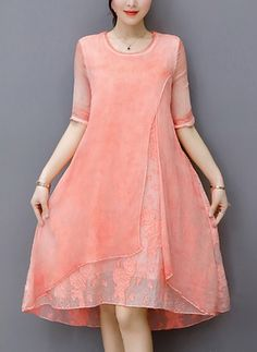Fairy Dreams Womens Loose Silk Dress 2017 New Style Half Sleeve Gray Pink Spring Summer Dresses Plus Size Clothing vestidos Shift Dresses, Gala Dresses, Chiffon Dresses, Silk Dress, Summer Dresses, Affordable Dresses, Elegant Dresses, Casual Dresses For Women, Clothes For Women