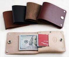 Men's Custom Leather Wallet Minimalist Rivet Wallet by San Filippo Leather
