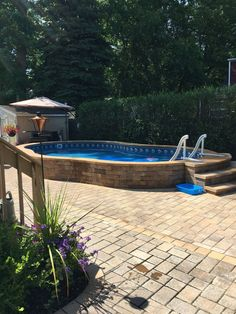 Our Pool Shape Pool Ideas. Radiant Semi Inground Freeform with Pavers. Reasons for Pool Coping and Edging Backyard Pool Landscaping, Backyard Pool Designs, Small Backyard Pools, Swimming Pools Backyard, Swimming Pool Designs, Semi Inground Pools, Landscaping Ideas, Backyard Ideas, Above Ground Pool Decks