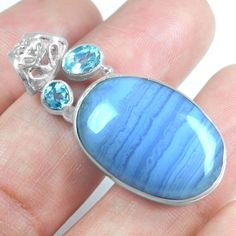 7.12 Gm 925 Sterling silver Natural Blue Lace Agate Blue Topaz Pendant Jewelry $ #Unbranded
