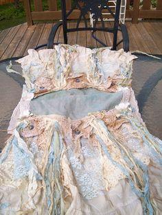 Handmade romantic table runner french blue shabby cottage tattered style OOAK. $80.00, via Etsy.