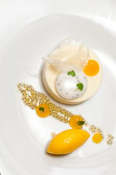 White Chocolate Parfait with Mango and Lime Sorbet, Passion Fruit pulp, and Thai Basil. Yes. Just yes.