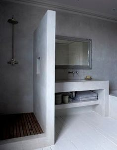 Polished concrete shower and bathroom vanity White Bathroom, Bathroom Interior, Modern Bathroom, Small Bathroom, Bathroom Ideas, Bathrooms Decor, Design Bathroom, Bathroom Shelves, Bad Inspiration