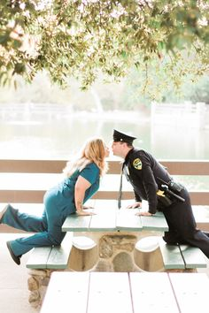 What happens when a police officer and a nurse get engaged in Orange County, CA? The cutest engagement photos with Juliet Peel Photography Police Wedding Photos, Police Engagement Photos, Cop Wedding, The Office Wedding, Engagement Pictures, Engagement Session, Couple Photography, Engagement Photography, Photography Poses