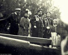 Tsar Alexander III and Family:From left to right: Grand Duke Alexei, Tsarina Maria Feodorovna, Grand Duchess Elizabeth Feodorovna (behind Maria), Tsar Alexander III, Grand Duke Paul, Grand Duke Sergei and Tsarevich Nicholas.