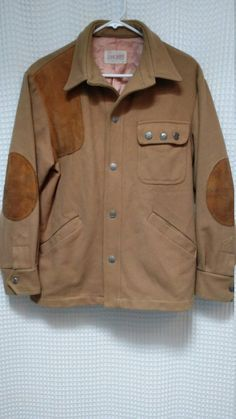 d4ea73d26ec Hunting Shooting Jacket Shirt Wool Leather patches vintage 1970 s button  front coat Lord Jeff detail