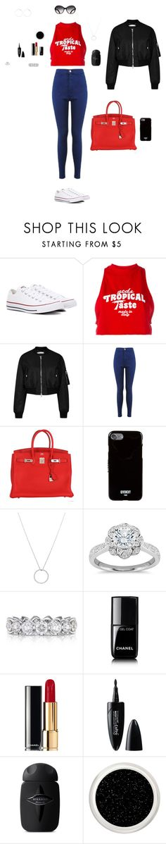 """""""Untitled #92"""" by mayashmila ❤ liked on Polyvore featuring Converse, GCDS, Givenchy, Miss Selfridge, Hermès, Roberto Coin, Zac Posen, Chanel and Maybelline"""