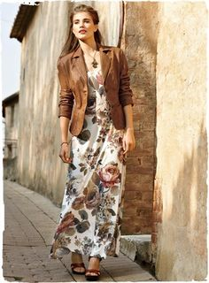 Painted Roses Dress    floral and leather