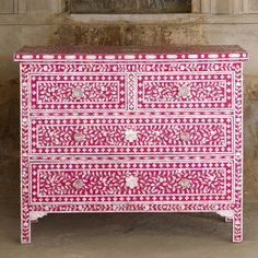 Mother of Pearl Inlay 4-Drawer Chest - Pink / White