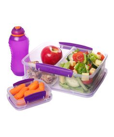 Take a look at this Purple Three-Piece Lunch Box Container Set by Sistema on #zulily today!