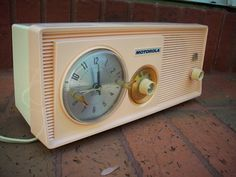 Vintage Motorola Pink Clock Tube Radio by WellIWasSavinIt on Etsy, $60.00