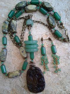 aventurine, jasper, old jade pendant