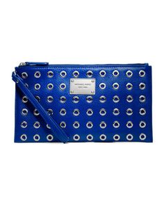 Punky little details. MICHAEL Michael Kors Large Jet Set Grommet Zip Clutch