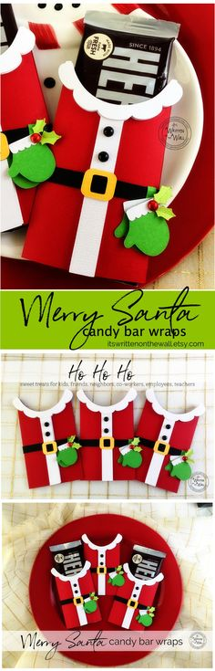 Merry Santa Hershey candy bar wraps for friends co-workers office treats teachers employees party favors and more Hershey chocolate bar wrappers Diy Christmas Gifts For Coworkers, Neighbor Christmas Gifts, Christmas Party Favors, Candy Party Favors, Diy Holiday Gifts, Christmas Candy, Christmas Crafts, Party Gifts, Diy Party