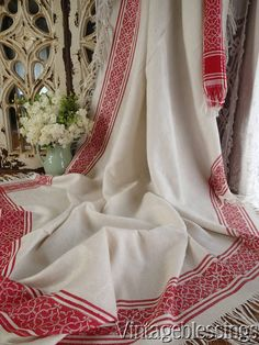 "VERY FINE Antique French Redwork Linen Fringed Tablecloth 90"" x 47"" www.Vintageblessings.com"