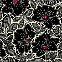 By The HALF YARD - Maya for Studio 8 for Quilting Treasures, Black Topaz Floral, Packed Black and Cream Flowers with Topaz Centers Graphic Design Pattern, Web Design, Graphic Patterns, Surface Pattern Design, Color Patterns, Print Patterns, Floral Patterns, Batik Pattern, Pattern Art