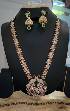 Latest long necklace/haram/haar designs in gold, antique gold, diamond, imitation jewellery, and one gram gold jewellery. Indian Jewelry Earrings, Pink Earrings, Bridal Jewelry, Jewelery, 1 Gram Gold Jewellery, Gold Jewellery Design, Gold Jewelry Simple, Necklace Set, Gold Necklace