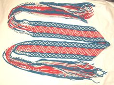 2 ply wool wraps per inch). twined zigzag body, and twined dimond border. blue,red and white Woodland Indians, Finger Weaving, War Bonnet, Native American Crafts, Sash Belts, Ribbon Work, 2 Ply, Indian Art, Garter