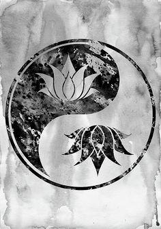 Lotus in Yin Yang-black by Erzebet S Arte Yin Yang, Yin Yang Art, Cute Tattoos, Body Art Tattoos, Art Hippie, Bestie Tattoo, Yin Yang Tattoos, Magic Women, Aesthetic Tattoo