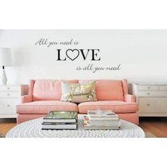 Love is all you need - Muursticker  Te bestellen in onze webshop