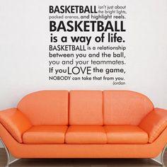 Basketball Michael Jordan quote subway art words vinyl  wall decal. $25.00, via Etsy.