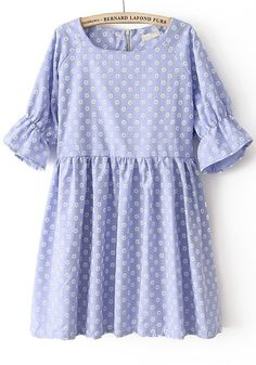 Blue Sun Flower Print Puff Sleeve Denim Dress
