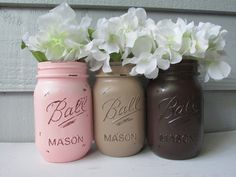 Painted and Distressed Ball Mason Jars- Light Pink, Dark Brown and Beige-Set of 3-Baby Shower Flower Vases, Rustic Wedding, Centerpieces on Etsy, $21.00