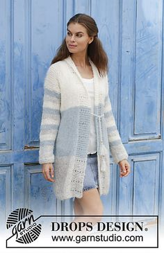 Knitted jacket with stripes, lace pattern and shawl collar. Size: S - XXXL Piece can be worked in 2 strands DROPS Brushed Alpaca Silk or 1 strand DROPS Melody.