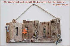 bois flotté, bricolage, recup, recyclage, deco marine : le blog de recup-o-bois-flotté: Porte-clés mural en bois flotté pour une déco mari...