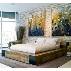 A platform bed is a bit different from ordinary bed. Typically a platform bed will only accommodate a mattress instead of a mattress and a spring and this Home Bedroom, Bedroom Decor, Master Bedroom, Bedrooms, Nature Bedroom, Bedroom Furniture, Bedroom Ideas, Diy Design, Interior Design