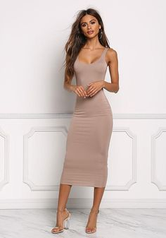 Mocha Midi Bodycon Dress - New