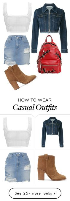 """""""Casual denim on denim"""" by iiserpentiiqueenii on Polyvore featuring SJYP, STELLA McCARTNEY, Laurence Dacade, Moschino and denimskirts"""