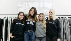 """AG Woman: Miriam Alden. From """"Babes Who Brunch"""" to """"Fries Before Guys,"""" Brunette the Label has girls fawning over their tongue and cheek attire. Started in 2014, Vancouver-based Brunette the Label and can be found in stores across Canada like Plenty to Nordstrom in Vancouver."""
