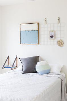Grey Suede Leather Strap Bedside Shelf