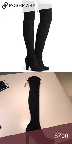 Stuart Weitzman Highland Boot Stuart Weitzman Highland Boot black suede!! Brand new in box never worn! I am open to offers! Stuart Weitzman Shoes Over the Knee Boots