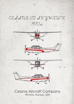 Cessna 172. 1970s'. Aircraft Poster. Wall Art. Aircraft by jbFARM
