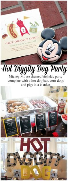 Mickey Mouse themed 2nd kids birthday party Hot diggity dog!! Hot dog bar, corn dogs, pigs in a blanket and cookies!
