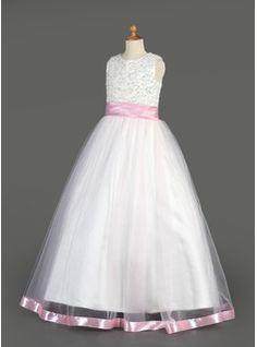796f48fd00  US  69.29  A-Line Princess Floor-length Flower Girl Dress - Organza Charmeuse  Sleeveless Scoop Neck With Sash Beading Sequins - JenJenHouse