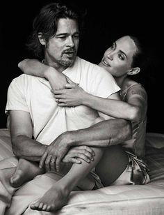 Angelina Jolie-Pitt e Brad Pitt na Vanity Fair de novembro 2015.