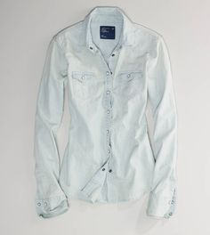 AE Faded Western Chambray Shirt  would look so cute with leggings and tall leather boots