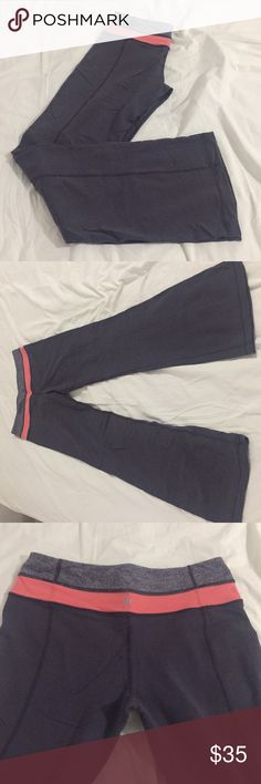 "Lululemon flared pants - vintage color combo Lululemon pants flared sillhoutte in great shape. Orange/gray color combination is a rare find. Size: 6, length: 40"", 10"" seam. lululemon athletica Pants Boot Cut & Flare"