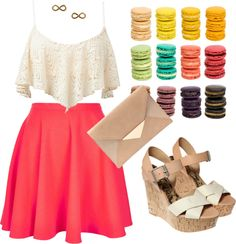 """crop top and skater skirt"" by clauclau1002 on Polyvore"