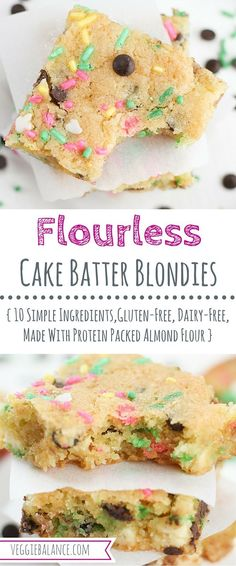 Cake Batter Blondies (Gluten-Free and Dairy-Free) with Chocolate Chips is the ultimate blondie cookie bar recipe for any occasion. Made entirely from scratch with protein-packed almond flour. #sponsored #BRMEaster #CleverGirls