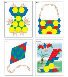 """The Thinking Kids'® Math Pattern Block Picture Cards are a perfect way to bring hands-on learning in the classroom while supporting the Common Core State Standard for math. Pattern block cards are a colorful way to create familiar shapes while also building critical thinking skills and developing visual discrimination. This set includes 12 full-color cards measuring 8.5"""" x 11"""" each.  Cards are large enough for young learners to place their pattern blocks right on top of the cards!"""
