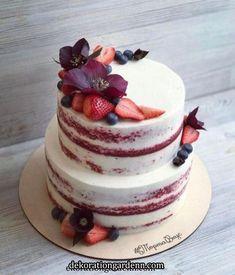 Beautiful Naked Cake With Fresh Berries Lovely red velvet cake cover Gorgeous Cakes, Pretty Cakes, Amazing Cakes, Bolo Neked Cake, Red Velvet Wedding Cake, Red Velvet Birthday Cake, Cake Wedding, Nake Cake, Birthday Cake Decorating