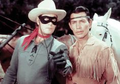 """Clayton Moore as """"The Lone Ranger"""" and Jay Silverheels as Tonto"""