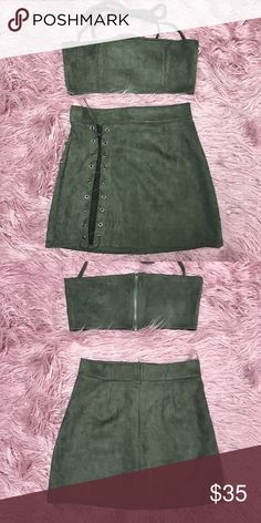 ✨ NEW!! Olive Green Two Piece Lace Up Skirt Combo✨ -Size M—faux suede look -Stretchy material -Never Worn! Just bought online and don't want to bother with returning it. -Nothing wrong with it, just don't like the way it looks on me! -Modeled photos added for better perspective   ✨GNO outfit!✨  🔆MAKE ME AN OFFER🔆 Other #handbagscomboonline Popular Purses, Trendy Purses, Popular Handbags, Unique Purses, Cute Purses, Green Two Piece, Two Piece Skirt Set, Purse For Teens, Expensive Purses