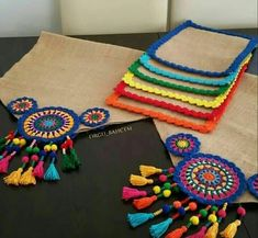Handmade Ideas added a new photo. Crochet Mandala, Crochet Motif, Crochet Doilies, Crochet Table Mat, Crochet Table Runner Pattern, Crochet Decoration, Crochet Home Decor, Burlap Crafts, Diy Crafts